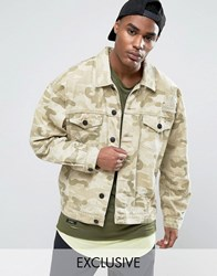 Cayler And Sons Denim Jacket In Camo With Distressing Beige