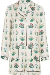 Valentino Floral Print Silk Twill Playsuit White