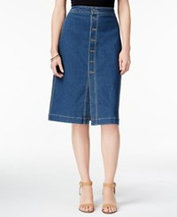 Style And Co Petite Button Front Denim Skirt Only At Macy's Caspian