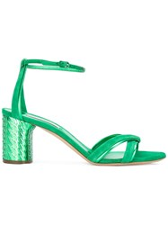 Casadei Ankle Strap Sandals Women Chamois Leather Leather Kid Leather 36.5 Green