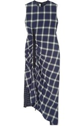 Mcq By Alexander Mcqueen Draped Paneled Checked Flannel Dress Navy