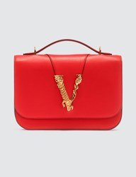 Versace Quilted Virtus Medium Shoulder Bag Red