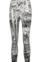 Norma Kamali Printed Stretch Jersey Leggings Off White