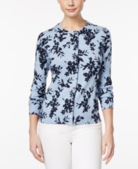 Karen Scott Petite Floral Print Cardigan Only At Macy's Light Blue Heather Combo