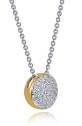 Lafonn Two Tone Pave Button Choker Necklace Silver Gold Clear
