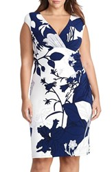 Lauren Ralph Lauren Plus Size Women's Floral Ruched Jersey Sheath Dress