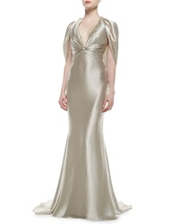 Pamella Roland Twisted Front Draped Lame Gown