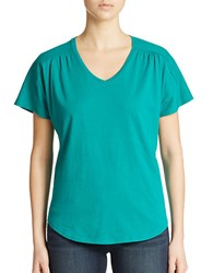 Lord And Taylor Shirred V Neck Tee Green Gem