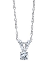 Macy's Round Cut Diamond Pendant Necklace In 10K Yellow Or White Gold 1 10 Ct. T.W.