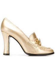 Versace Vintage Metallic Loafer Pumps Gold