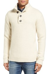 Schott Nyc Men's Military Henley Sweater Off White