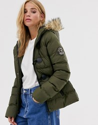 Brave Soul Wizard Padded Coat With Faux Fur Hood Green