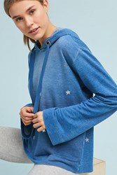 Anthropologie Cloth And Stone Metallic Star Hoodie Blue