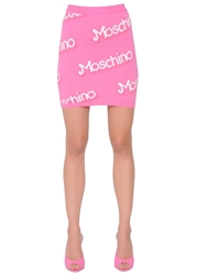 Moschino Logo Cotton Knit Mini Skirt Pink