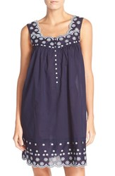 Eileen West Women's Floral Embroidered Cotton Chemise