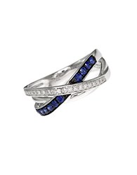 Effy Royale Bleu 14Kt. White Gold Sapphire And Diamond Crossover Ring Sapphire White Gold
