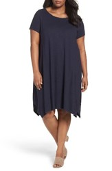 Eileen Fisher Plus Size Women's Hemp And Organic Cotton Handkerchief Dress Midnight
