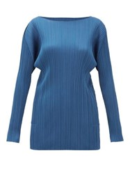 Issey Miyake Pleats Please Technical Pleated Tunic Top Blue