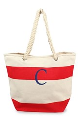 Cathy's Concepts Personalized Stripe Canvas Tote Red Red C
