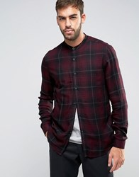 Asos Regular Fit Viscose Check Shirt With Grandad Collar Burgundy Red