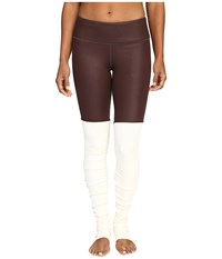 Alo Yoga Goddess Ribbed Legging Mink Glossy Natural Women's Workout Brown