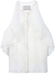 Jason Wu Ruffled Racerback Blouse White