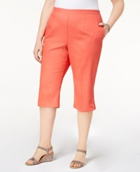 Alfred Dunner Plus Size Sun City Button Cuff Pull On Capri Pants Coral