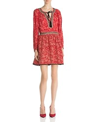 The Kooples Sunrise Embellished Silk Dress Red