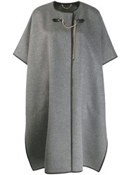 Salvatore Ferragamo Short Sleeved Cape Coat Grey