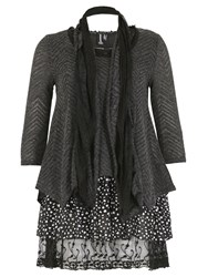 Izabel London Polka Dot Layered Top Grey