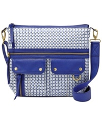 Fossil Morgan Printed Fabric Top Zip Messenger Sapphire