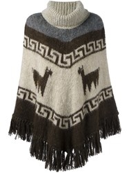 P.A.R.O.S.H. Patterned Poncho Nude And Neutrals