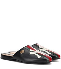 Gucci Ny Yankees Leather Slippers Black