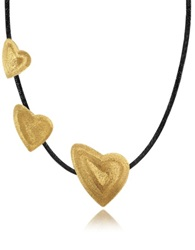 Stefano Patriarchi Etched Golden Silver Triple Heart Choker W Leather Lace