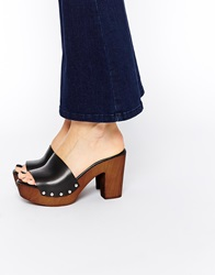 Asos Homebound Leather Mules Black