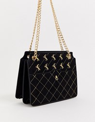 Skinnydip Filly Quilted Gold Chain Shoulder Bag Black