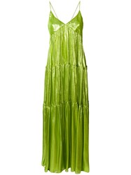 Daizy Shely Lame Maxi Dress Green