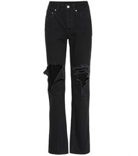 Vetements Distressed Straight Jeans Black