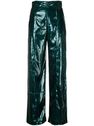 Michael Lo Sordo High Waisted Flared Trousers Green