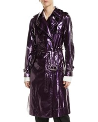 Marc Jacobs Double Breasted Belted Shiny Trench Coat Fuchsia
