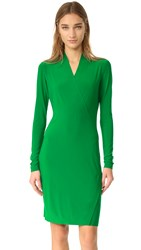 Norma Kamali Kulture Long Sleeve Side Drape Dress Kelly Green