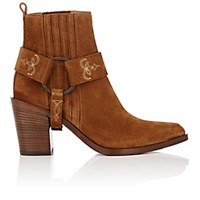 Sartore Women's Stitched Harness Strap Ankle Boots Brown