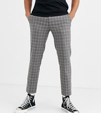 Heart And Dagger Skinny Fit Suit Trouser In Grey Grid Check