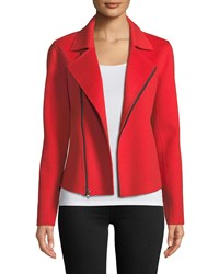 Neiman Marcus Luxury Double Faced Cashmere Moto Jacket Red