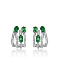 Hueb Spectrum 18K White Gold 3 Emerald And Diamond Earrings