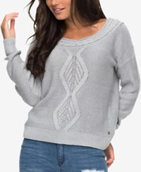 Roxy Juniors' Cable Knit Boat Neck Sweater Heritage Grey