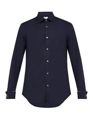 Paul Smith Artist Stripe Double Cuff Cotton Shirt Navy
