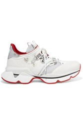 Christian Louboutin Red Runner Donna Glittered Mesh And Leather Sneakers White