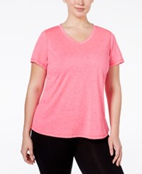 Ideology Plus Size Essential V Neck Performance T Shirt Only At Macy's Molten Pink