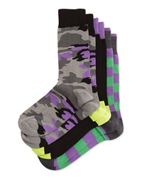 Neiman Marcus Three Pair Sock Set Camo Colorblock Stripe